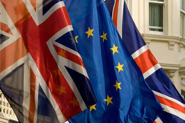 European and British flags.