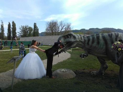 mladenci u parki dinosaurusa