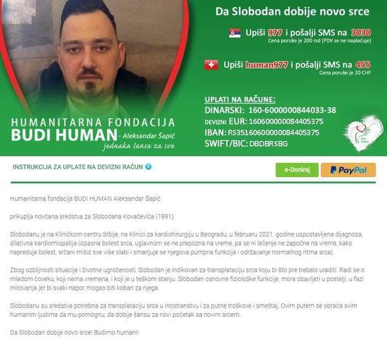 """HUMANITARNA AKCIJA: Subota uz picu ispred """"Jelene"""" – da Slobodan dobije novo srce"""